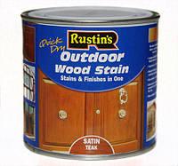 Цветной акриловый лак на водной основе Q/D Outdoor Wood Stain для наружных работ Satin (полуматовый), 500 мл, Ebony (чёрное дерево)