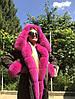 Парка женская с мехом песца розовая
