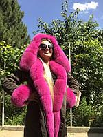 Парка женская с мехом песца розовая, фото 1
