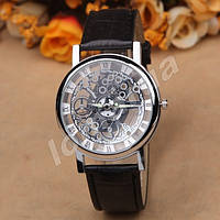Кварцевые мужские часы скелетоны McyKcy Silver Black stripe