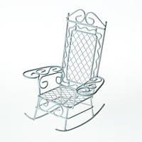 Металлическое мини кресло белое 8.5*7.5*10см, 27031