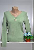 Классический женский джемпер стрейчевый оливкового цвета, фото 1