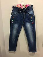 Детские джинсы со стразами на девочку