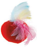 Игрушка для кошек Мячик меховой с перьями на резинке