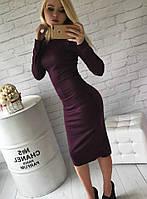 Платье классическое(48-52) футляр миди сливовое, длинный рукав, теплое, трикотажное, фото 1