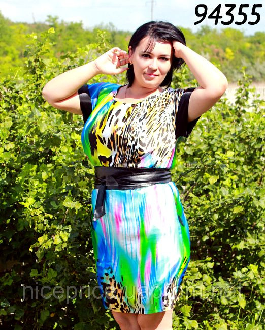 Платье шелковое с атласным поясом 52,54-943 модель