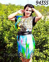 Платье шелковое с атласным поясом 52,54