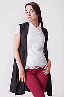 Удлиненный черный женский жилет прямого кроя, карманы-обманки