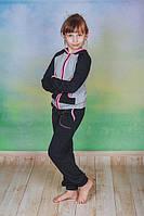 Спортивный костюм детский с капюшоном черный