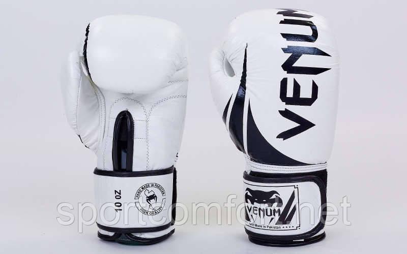 Перчатки для бокса (натуральная кожа) Venum Challenger 10 oz белые реплика
