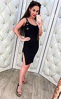 Распродажа летней коллекции Стильный женский сарафан с разрезом (марсала, черный, оранжевый)