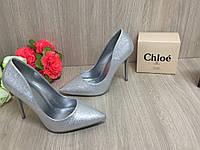 Женские туфли серебро на шпильке