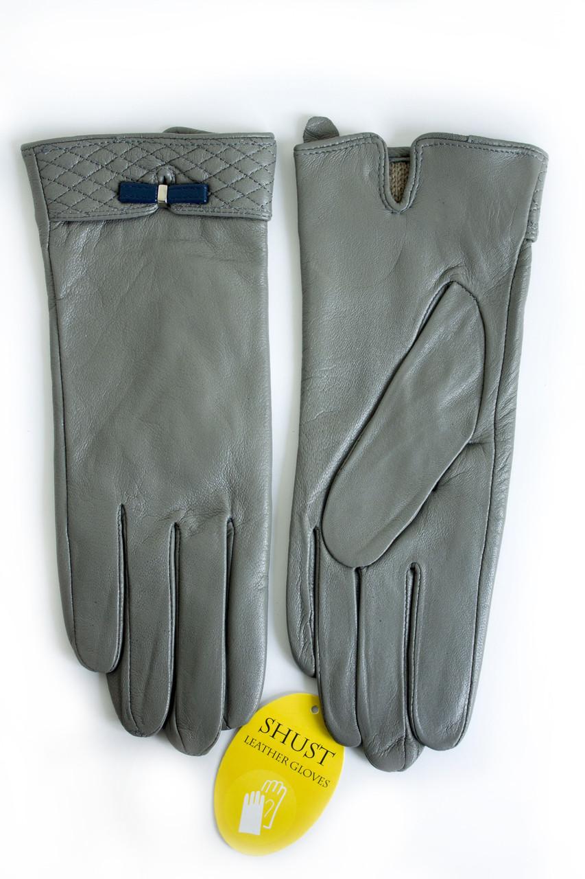 Женские кожаные перчатки Серые Маленькие WP-16103s1
