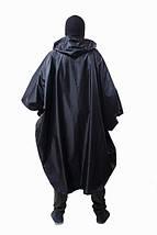 Дождевик (пончо) с проклеенными швами чёрный, фото 3
