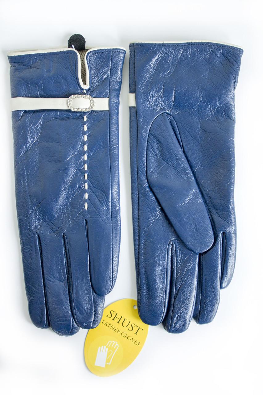 Женские кожаные перчатки синие 3-374