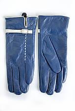 Женские кожаные перчатки синие 3-374, фото 2