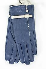 Женские кожаные перчатки синие Средние WP-16102s2, фото 2