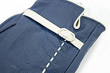 Женские кожаные перчатки синие 3-374, фото 3