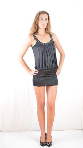 40f21173f9cef63 Платье-мини коктейльное открытое эксклюзивное со стразами черное., фото 2