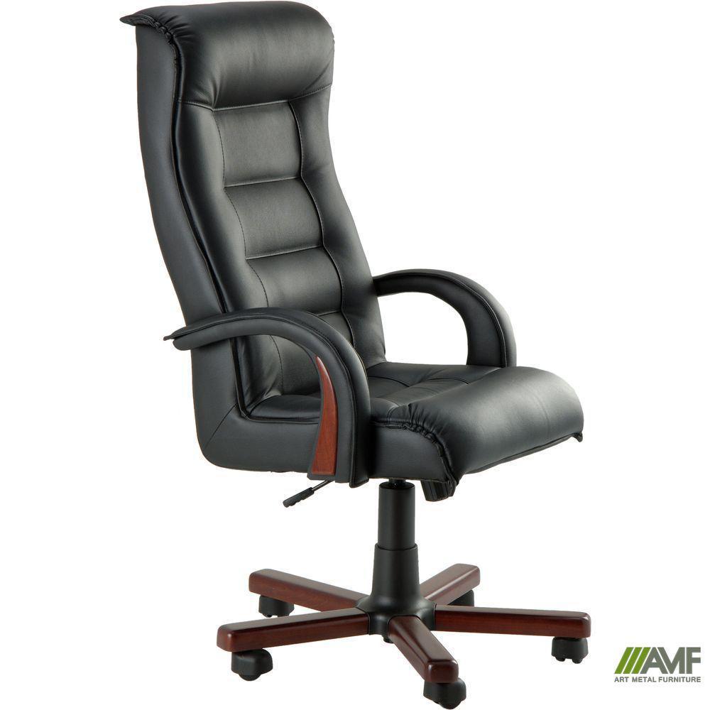 Кресло Роял Люкс Механизм ANYFIX коньяк Кожа Люкс комбинированная Темно-коричневая