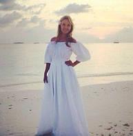 Пышное платье в пол со складками и длинным поясом, синее, пышный рукав и шикарная пышная юбка, все размеры!