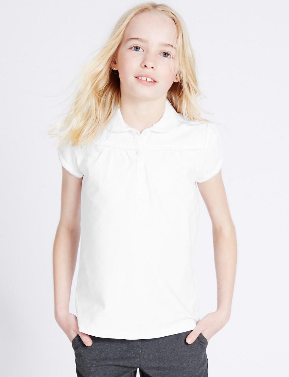 Школьная блузка белая трикотажная с коротким рукавом на девочку 6 лет Marks&Spencer (Англия)