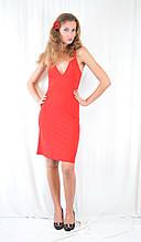 Стильное платье красное, с декольте, открытой спинкой и стразами. Акция!