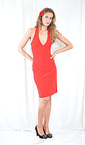 Стильное платье красное, с декольте, открытой спинкой и стразами. Акция!, фото 3
