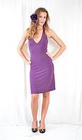 Стильное платье фиолетовое, с декольте, открытой спинкой и стразами. Акция!