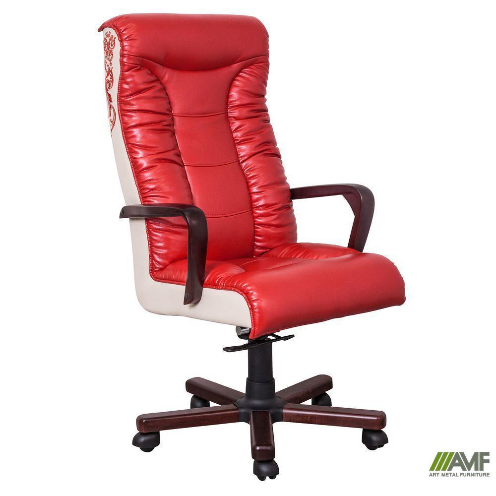 Кресло Кинг Флеш ANYFIX вишня Кожа Люкс комбинированная Коричневая