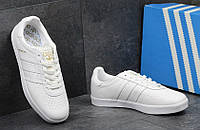 Кроссовки мужские в стиле adidas 350, цвет - белый, материал - замша, подошва - вулканизированная резина
