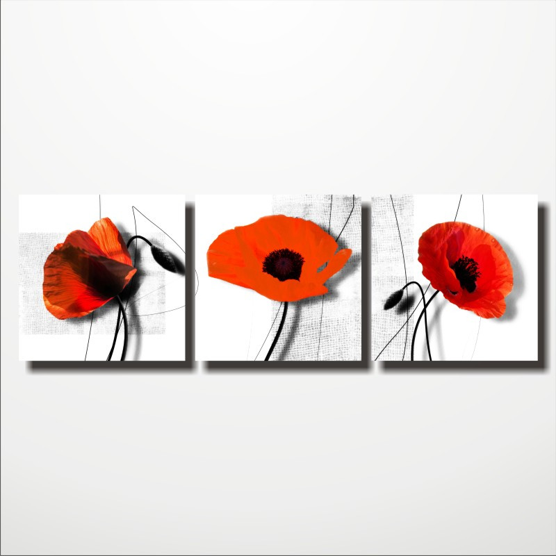"""Модульная картина цветы """"Red flower"""""""