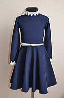Детское школьное платье для девочки синий, фото 1