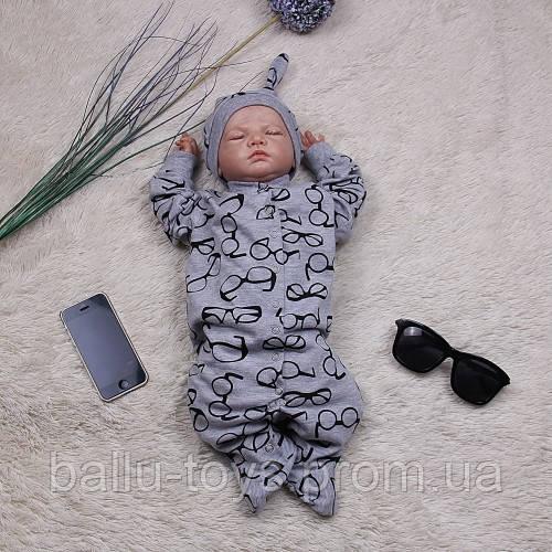 Комбинезон-человечек с шапочкой для малышей Карапуз (3-9 мес)