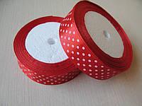 Лента в горох 2.5 см цвет - красный