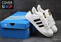 Кроссовки женские adidas Superstar, белые с черными вставками, материал - кожа, подошва прошита