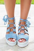 Женские летние замшевые босоножки на шнуровке
