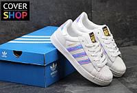 Женские кроссовки adidas Superstar - chameleon, материал - кожа, подошва прошита