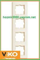 Четверная вертикальная рамка Viko Karre крем