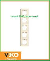 Пятерная вертикальная рамка Viko Karre крем