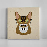 Детская картина на холсте Усатый кот хипстер 30х30 см