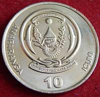 Монета Руанды. 10 франков 2003 год.