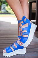 Женские летние кожаные босоножки на шнуровке
