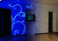 Невидимая флуоресцентная краска для стен