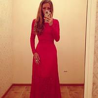 Гипюровое платье в пол  с открытой спиной, длинный рукав