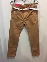 Коттоновые брюки с ремнем для девочки