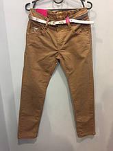 Коттоновые брюки с ремнем для девочки 128 см