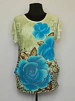 Женская футболка больших размеров оптом Роза