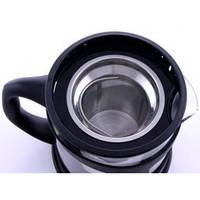 1106833 Чайник заварювальний для чаю, скляний, у чорній підставці, 1 л