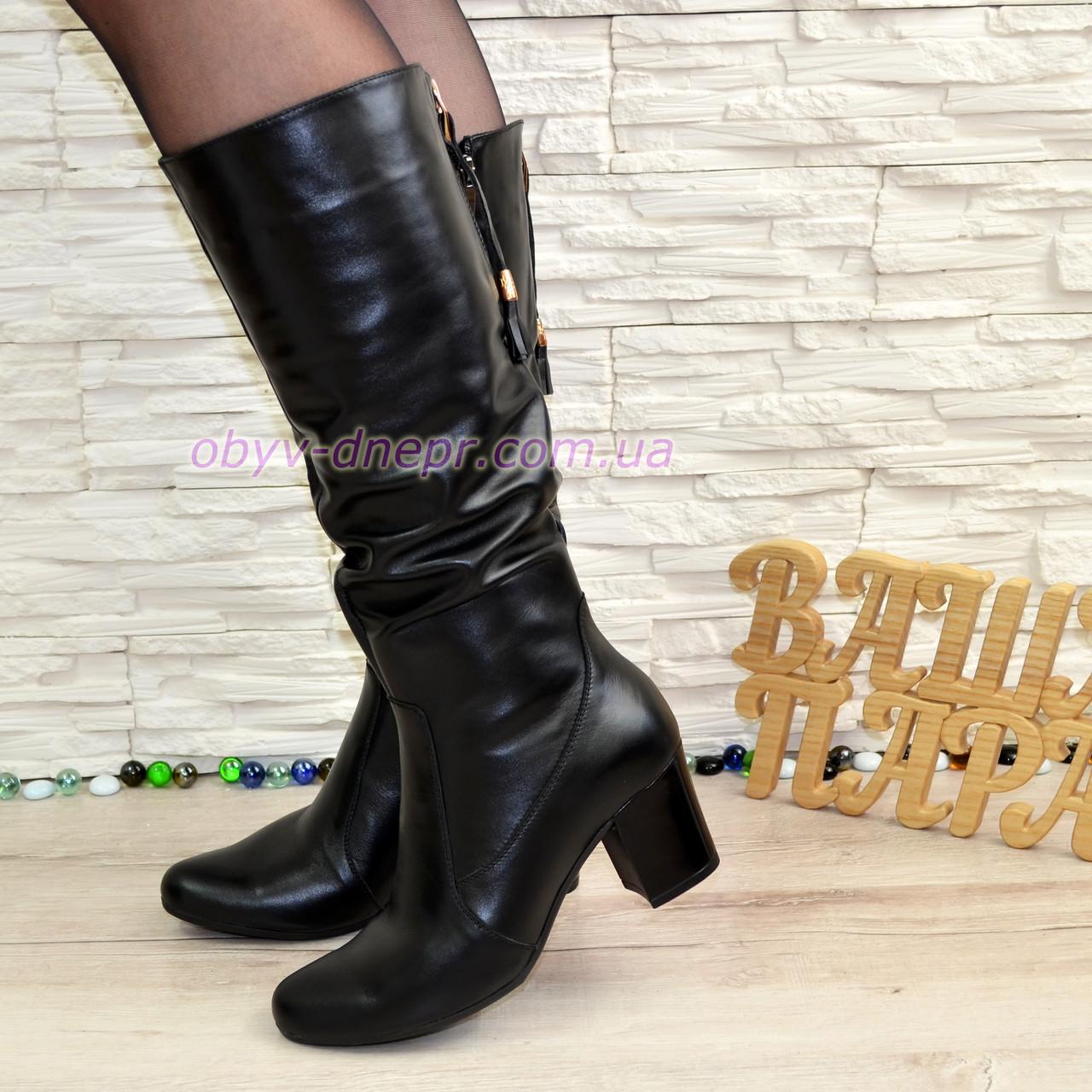 Женские зимние черные кожаные сапоги на устойчивом каблуке - Интернет- магазин